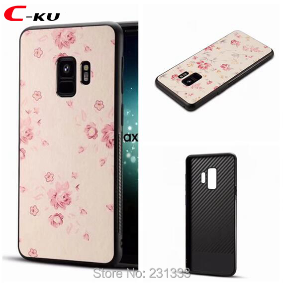 C-ku For Samsung Galaxy S9 S8 PLUS A8 Plus 2018 Flower Leather TPU + PC Hard Case Hybrid Back Cover Skin Luxury 50pcs