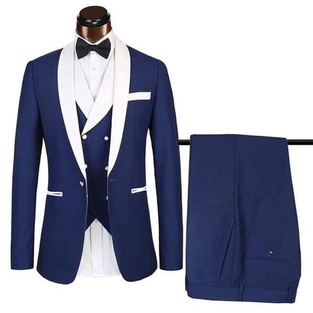 2019 New Slim Fit Mens Suits Sets Royal Blue Business Tuxedos 3 Pieces Blazer Set For Wedding Groomman (Jacket+Vest+Trousers)