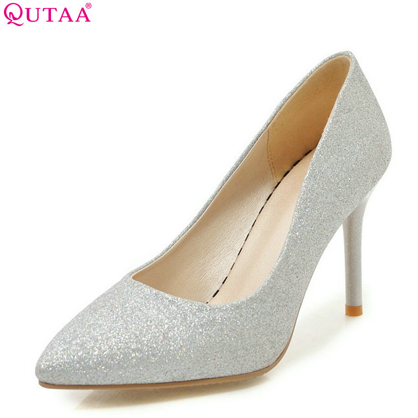QUTAA 2018 Women Pumps Fashion Women Shoes Thin Igh Heel Pointed Toe All Match Pu Leather Ladies Wedding Pumps Size 34-43 qutaa 2018 women pumps thin high heel pu leather fashion women shoes platform peep toe slip on ladies wedding pumps size 34 43