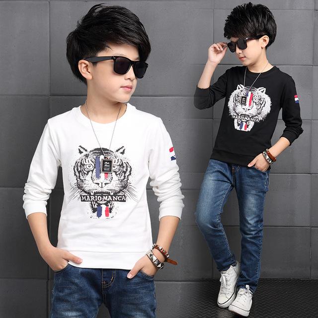 2016 Otoño Nueva Llegada de Algodón Niños de Manga Larga T-shirt Niños Tigre Patten Camisetas Interiores Para Adolescente Classic Negro/Blanco
