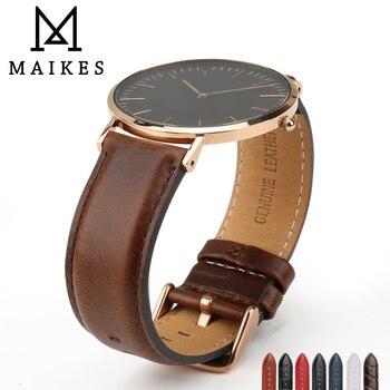 aabf485e66ed MAIKES cuero genuino reloj accesorios Correa 12mm-20mm hombres mujeres lujo  reemplazar correa para Daniel Wellington DW pulseras