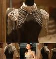 Старинные кружева плечо ожерелье цепь горный хрусталь плечевой ремень погон серьги ожерелья свадебный ну вечеринку тела сеть ювелирных
