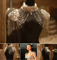 Vintage Lace Bridal Shoulder Necklace Chain Rhinestone Shoulder Strap Epaulet Necklace Earring Wedding Party Body Chain Jewelry