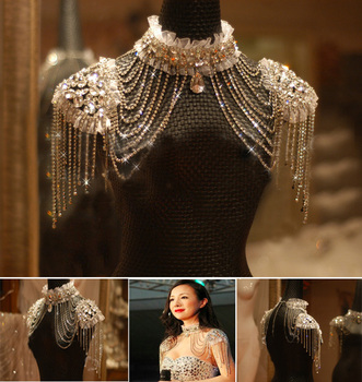Vintage Lace Chain Rhinestone Wedding Necklace Jewelry chain
