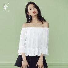 FANSILANEN 2017 Fashion Summer/Spring Women Blouse Shirts Feminine Blouses Chiffon Female Sexy Slash Neck Off Shoulder Z71039