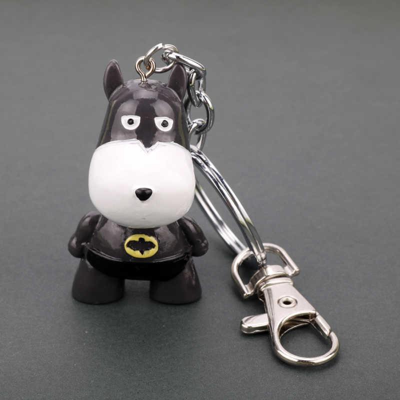 סרט DC קומיקס דמויות נושא Keychain כלב צעצועי דגם אסיפה בובות סופרמן באטמן ספיידרמן Keychain Keyring עבור אוהדים
