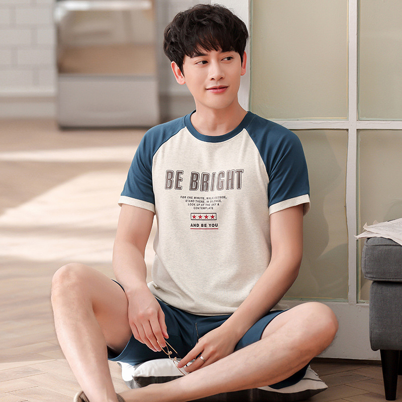 Men summer cotton new pajama Korean short sleeve shorts thin style home wear casual fresh and comfortable two pieces pajama sets(China)