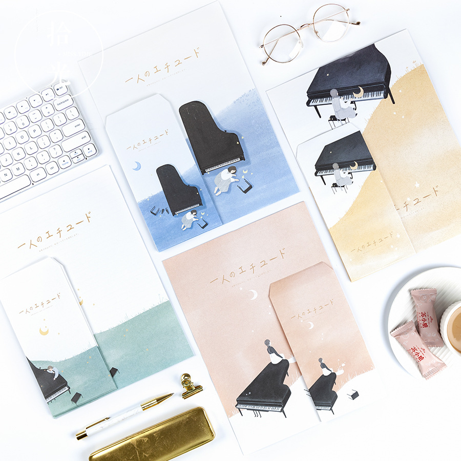 9Pcs/Set 3 Envelopes + 6 Letter Practice By One Person Series Envelope Writing Paper Gift Stationery