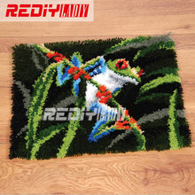 DIY Carpet Rug Latch Hook Kits Acrylic Yarn Embroidery Floor Mat Red Eye Frog Pre-Printed Canvas Wall Hanging Modern Art Crafts(China)