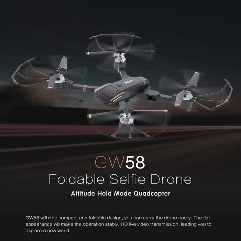 feichao GW58 Foldable Selfile Drone FPV Pocket Quadcopter Remote and WiFi Control Aircraft feichao mini gw58 foldable selfile drone fpv 0 3mp 2 0mp hd camera pocket quadcopter remote and wifi control aircraft drone