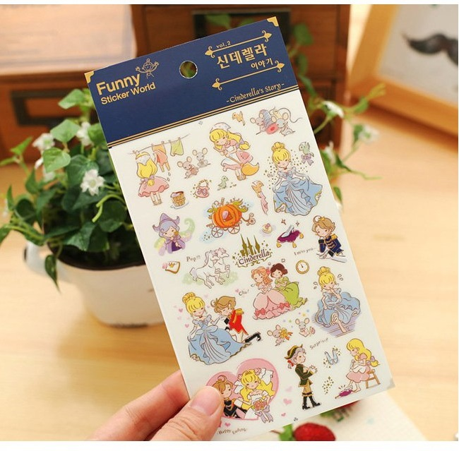 Купить с кэшбэком 15 pcs/Lot Funny sticker world Fairy tale Cinderella story stickers decoration for diary phone album gift Stationery FT926