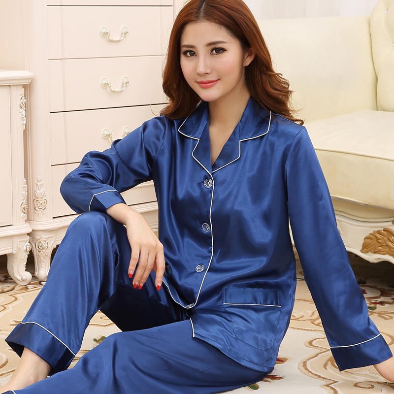Spring new women's silk pajamas sexy blue long sleeve Women