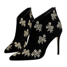 Women Boots Autumn Winter New Short Boots Flower Embroider Zipper Thin Heels Chelsea Boots High Heel Novelty Shoes DS-A0301
