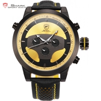New Series Shark 6 Hands Leather Band Calendar 24 Hours Dual Time Zone 3D Dial Black