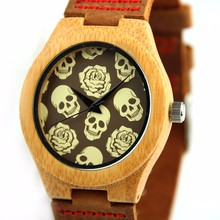 REDEAR Skull Christmas Bamboo Wooden Watches With Genuine Cowhide Leather Band Luxury Wood Men Watches relojes hombre 2017