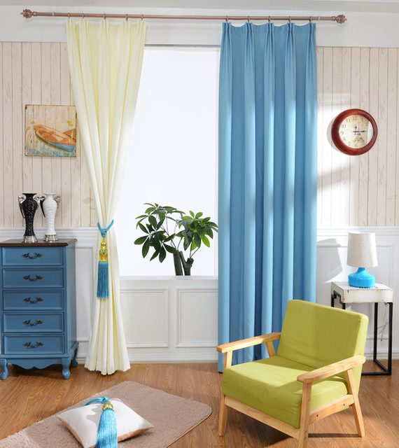 Interior Decoration Home Solid color Faux Linen Blackout Curtains ...