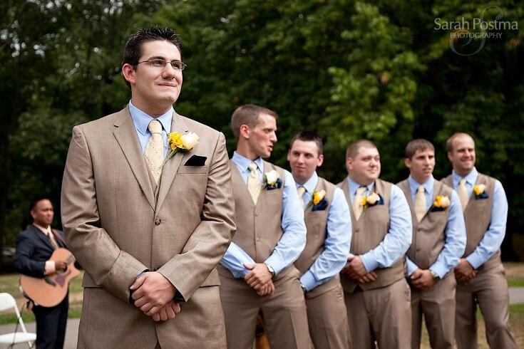 2017 Latest Coat Pant Designs Khaki Wedding Suits for Men Formal ...