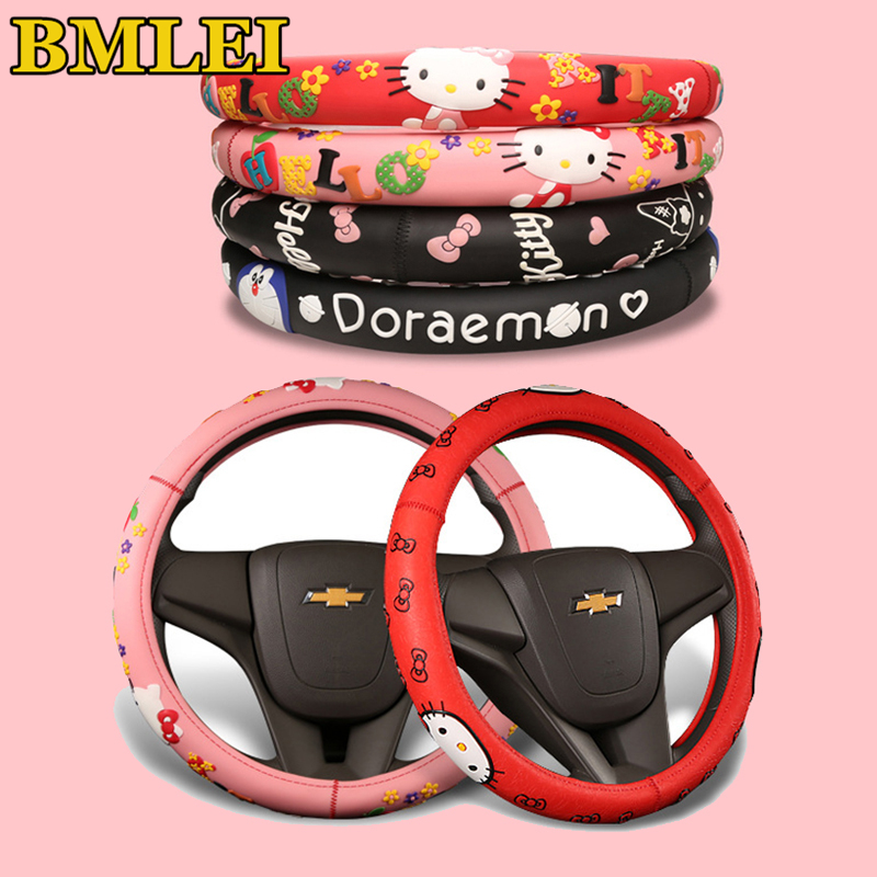 Hello Kitty Car Accessories Cartoon Steering Wheel Cover Natural Rubber Healthy Breathable Universal 38cm For Women Girl Lady(China)