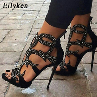 Eilyken 2018 New Sexy Crystal Women Sandals Design Pumps Sexy Cover Heel Hollow out Lady Sandals Shoes High 11.5CM size 35 40