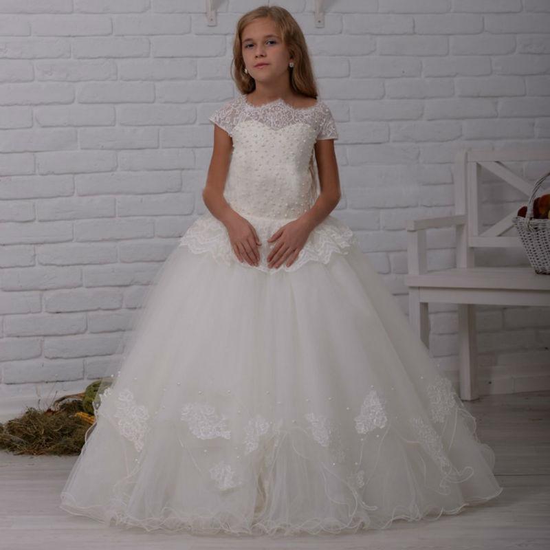 Mermaid Kids Beauty Pageant Dresses Sleeveless Flower Girl dresses for Weddings White Holy Communion Mother Daughter Dresses