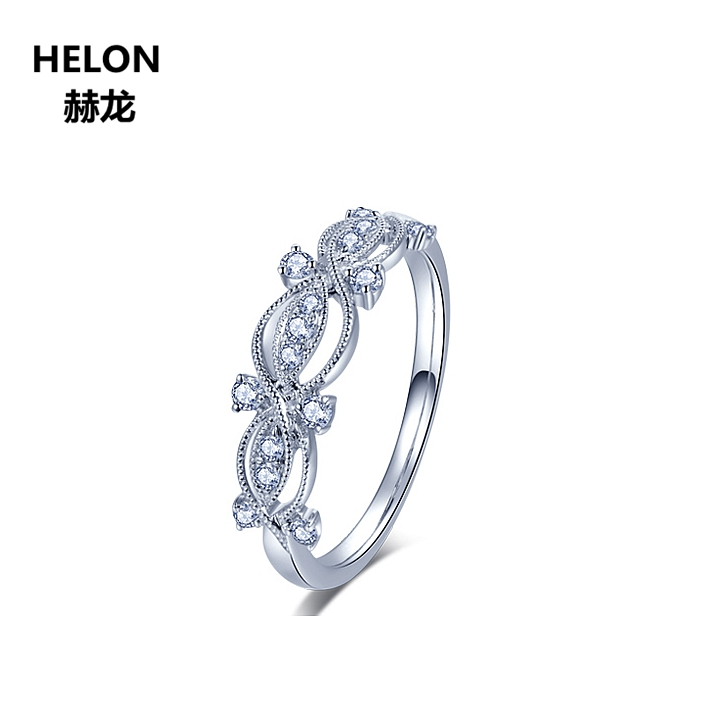 Solid 10k White Gold 0.1ct SI/N Natural Diamonds Engagement Wedding Ring Women Party Anniversary Antique Vintage Ring