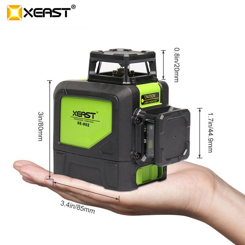 XEAST XE-902 8 Lignes Vert Laser Niveaux Auto Nivellement 360 Horizontal et VeArtical Croix Super Puissant 3D Vert Faisceau Laser ligne