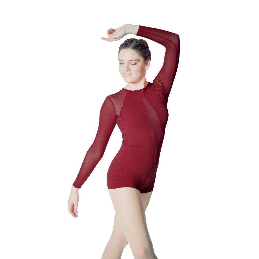 Adult Girls Black Blue Gymnastics Leotard Long Sleeves Shortard Unitard Microfiber Lycra Mesh zipper Back Ballet Bodysuit