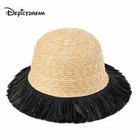 Fashion Wheat straw Sun Hats For Women feathering edge Splicing Sunscreen straw hat Outdoor Beach hat Summer Caps Feminino