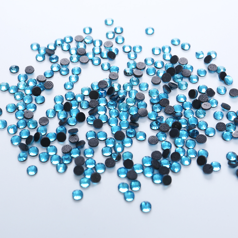 DMC Glass Rhinestones 1440pcs Aquamarine Glue Back Iron On Stones And Crystals Strass Hotfix Rhinestones For Clothes Or Nail Art in Rhinestones from Home Garden