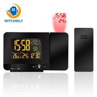 Modern Digital LED Projection Alarm Clock Temperature Weather Station Calendar Display Dual Alarm Plastic Tabke Clock Modern