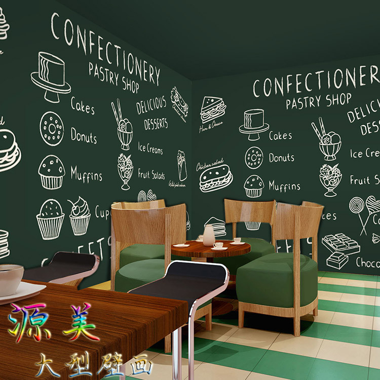 Blackboard Wallpaper Murals Food Wallpaper Murals Bistro: 3D Wall Mural Wallpaper Western Restaurant Hand Painted
