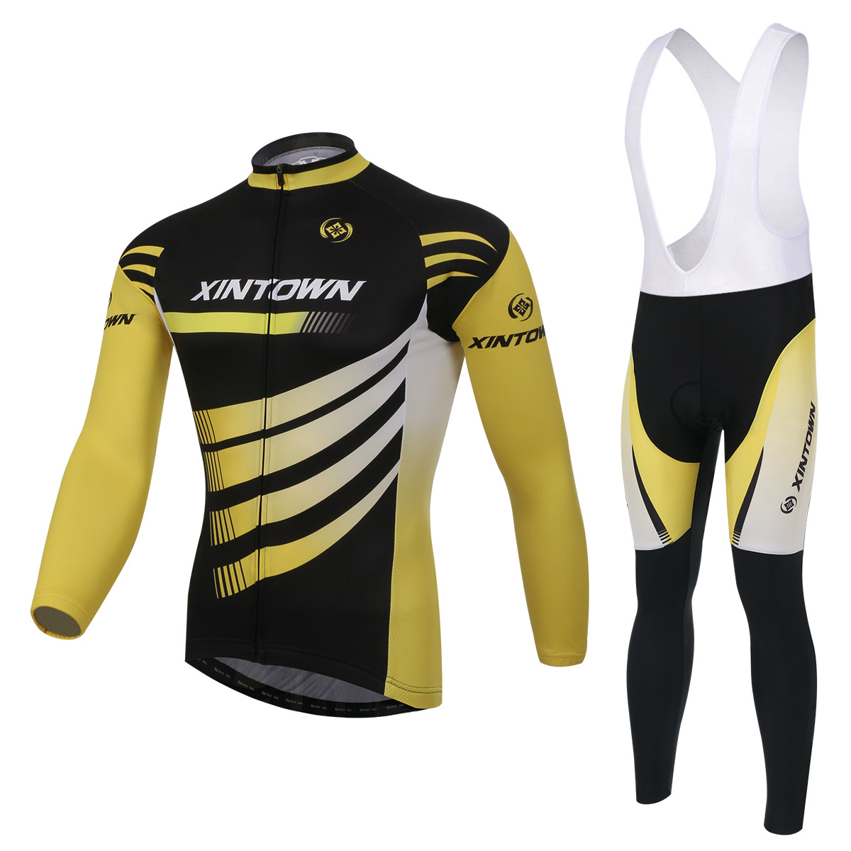 Cycling Set Long Sleeve Jersey and Bib Pants 3D Pad Pro Men Anti-sweat Yellow Black Ciclismo Bike Suit Bicicleta Riding Sets