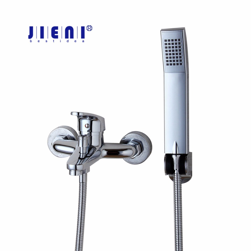 Brass Chrome Polished Luxury Hand Shower Set Bathroom Shower Set Faucet Wall Mounted Bath Faucet Hot Cold Mixer Tap luxury single lever bath tub shower set wall mounted shower faucet hot