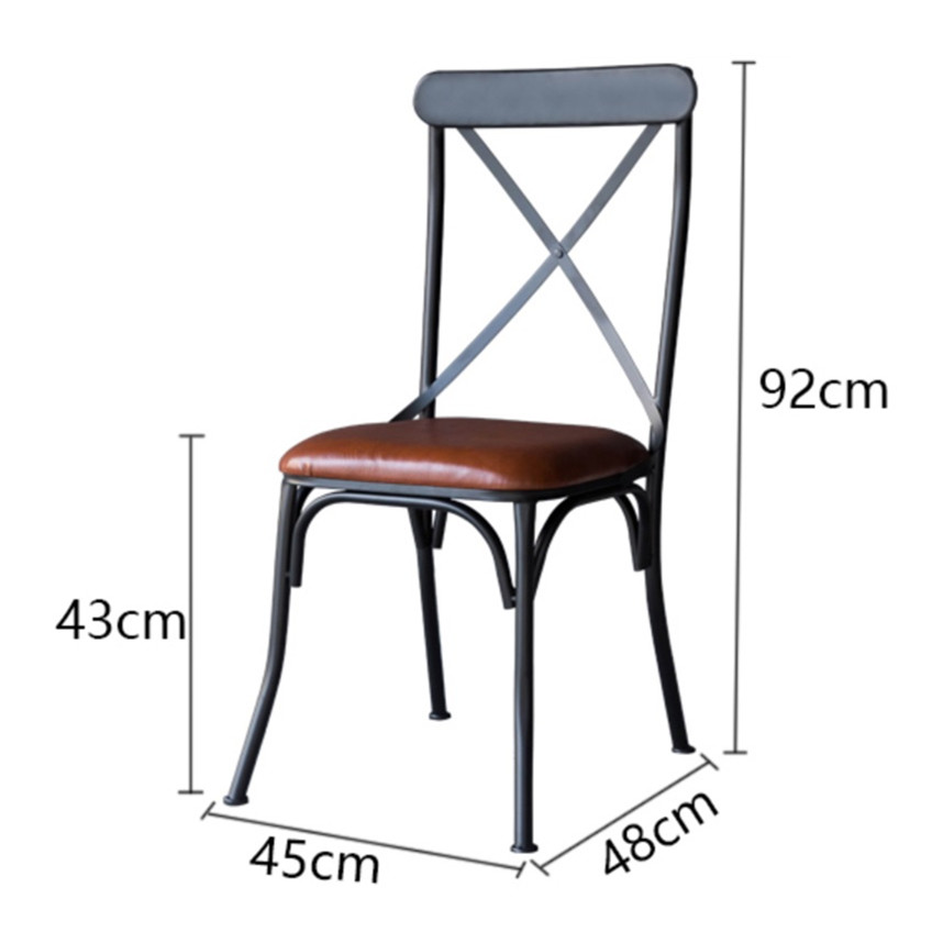 INDUSTRIAL RETRO RUSTIC URBAN FRENCH BISTRO STYLE METAL DINING CHAIR SEAT  CROSS BACK CAEF RESTAURANT DINING ROOM FURNITURE In Dining Chairs From  Furniture ...