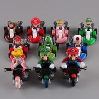 Lindo Super Mario Bros Kart tira Del Coche Del PVC Figura de Acción Juguetes 2