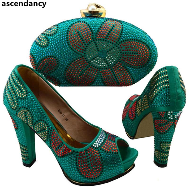 Et À Assortis Chrysoïdine Chaussures Italien Sacs Décoré Sac Correspondre Strass Les Ensemble Couleur chrysoidine Avec Africaines Pour Bleu rFwFqtx