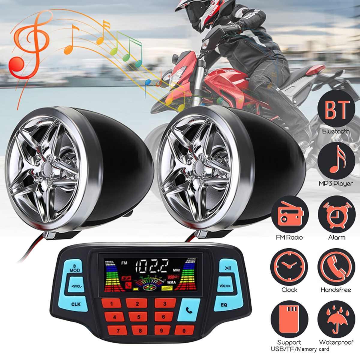 Mofaner 12V Waterproof Motorcycle bluetooth Radio Motorbike ATV MP3 Player Two Speaker Handlebar Radio For Honda For Kawasaki