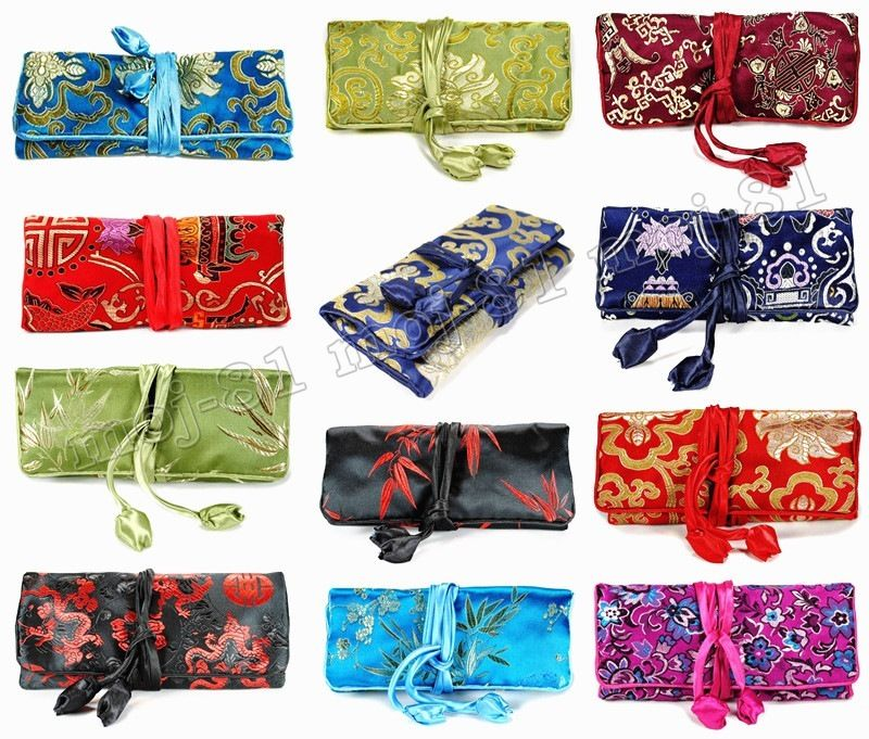 Wholesale SILK JEWELRY TRAVEL BAG Mixed Brocade Fabric Roll Pouch Carrying Case 10PCS Color randomWholesale SILK JEWELRY TRAVEL BAG Mixed Brocade Fabric Roll Pouch Carrying Case 10PCS Color random
