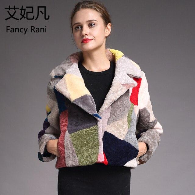 Moda de pele de Carneiro Genuína Casacos De Pele para As Mulheres Inverno Quente Casaco de Lã Feminino Nobre Patchwork Tosquia de Ovelhas Quente Jaqueta Outwear
