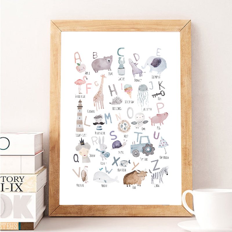 Animal Alphabet Prints Watercolor Montessori Educational Posters Kids Boys Girls Nursery Rooms Learning Letters Canvas Painting