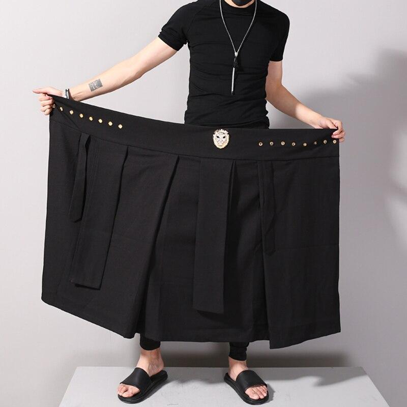 Occasionnel Harem De Réglable Pantalon hop Jupe Noir Hommes Mâle Punk Taille Mode Défilé Hip wBqxpPax