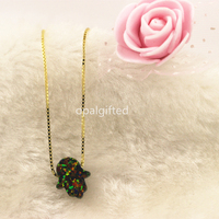 1pc Lot Free Shipping Synthetic OP32 Black 11 13mm Opal Hamsa Hand Necklace 925 Sterling