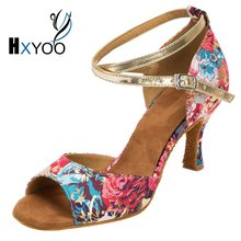 HXYOO 2018 New Arrived Women Latin Shoes Satin Soft Sole Red Blue Flower Ballroom Dance Shoes
