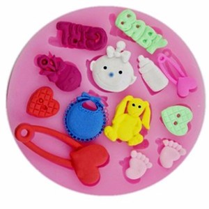 Image 2 - 3D Silicone Baby Shower Party  Fondant Mold For Cake Decorating silicone mold Fondant Cake sugar craft Moulds Tools