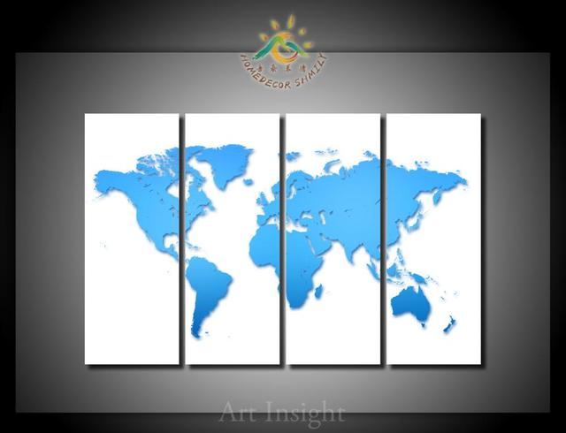 4 piecesset blank world map modern printed painting on canvas wall 4 piecesset blank world map modern printed painting on canvas wall art picture home gumiabroncs Gallery