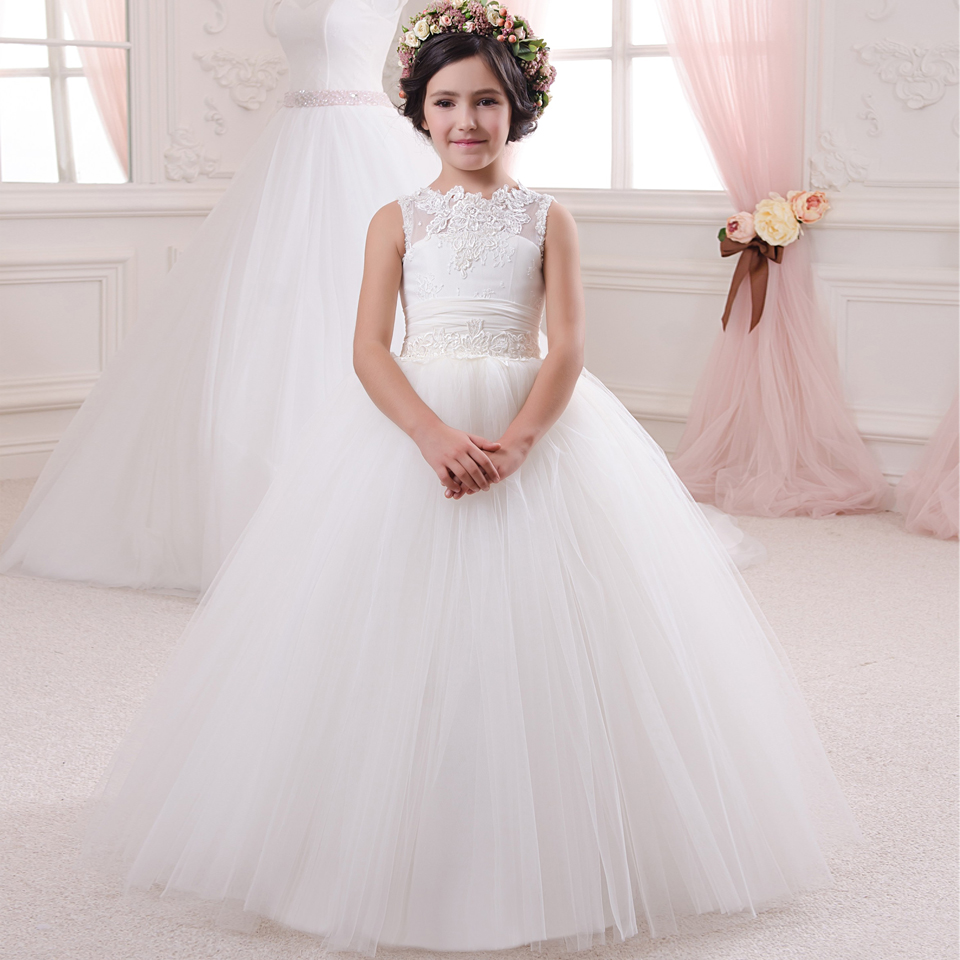 Little Girls Ball Gown Dresses Lace Up O-neck Sleeveless Appliques Solid Vestidos De Comunion Para Ninas Girls Pageant Dresses
