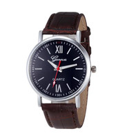 Hot relogio feminino Men Women Geneva Fashion Leather Analog Stainless Steel Quartz Wrist Watch Essential march13