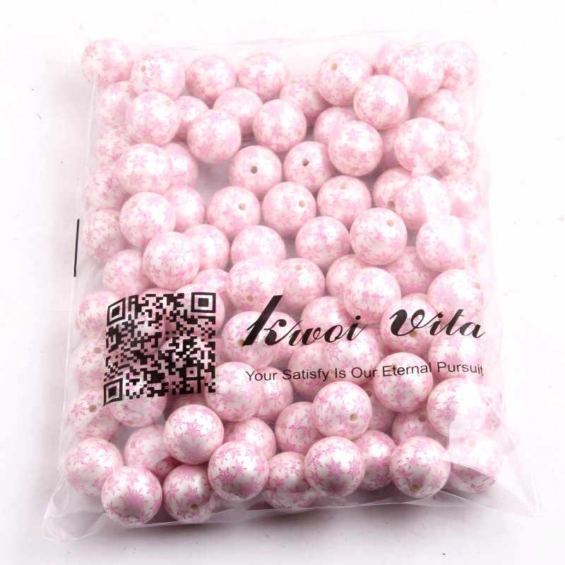 Mode 20 MM 100 pcs/lot chunky acrylic Printing pink Snowflake Imitasi pearl Beads Untuk Chunky Anak Perhiasan