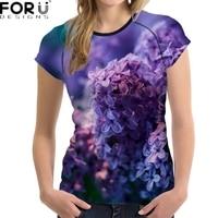 FORUDESIGNS 3D Fioletowy Kwiat Drukowane Kobiety T Shirt Oddychająca Krótki Rękaw Top Upraw Różowy Moda Marka Fitness Panie Koszulkę