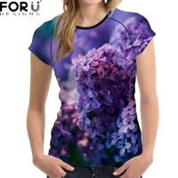 FORUDESIGNS 3D Purple Flower Printed Women T Shirt Breathable Short Sleeve Top Crops Pink Fashion Brand